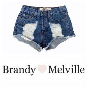 Brandy Melville High Waist Destroyed Denim Shorts